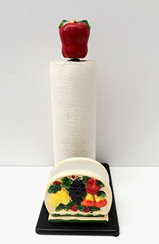 3-D MIxed Fruit Ceramic Napkin/Towel Holder, 87077 by ACK