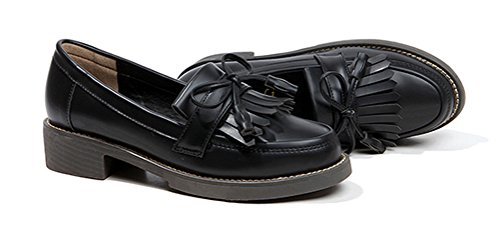 Oxford Zapatos Mujer Heels, Vestido De Trabajo De Uniforme Escolar De Damas Uso De Trabajo Antideslizante Negro