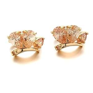 YupFun Women's 18K Gold Plated Brass Topaz Cubic Zirconia Stud Earrings