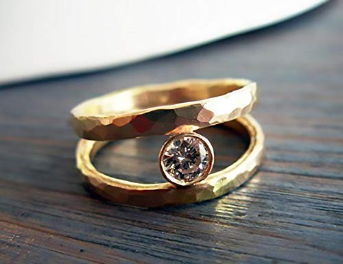 Kelly. Amazing Double Hammered Gold Ring Set With 0.25 Ct Clear Diamond. 14K Gold Solitaire Engagement Ring. Recycled Handmade Wedding Band (0.25 Ct Solitaire)