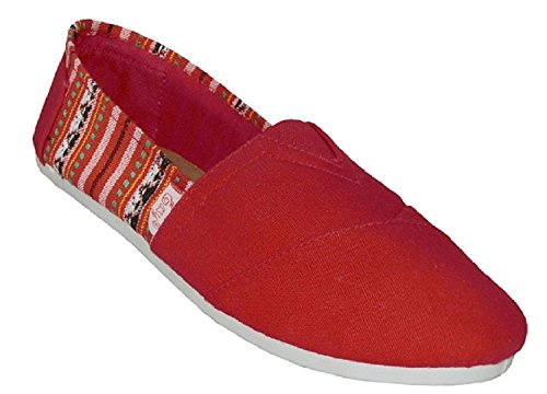 Shoes 18 Womens Canvas Slip on Shoes Flats 2 Tone 10 Colors Red 308L 4WyHHzaU