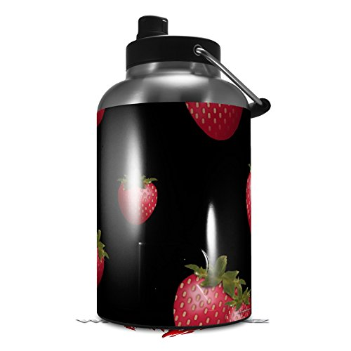 - Skin Decal Wrap for 2017 RTIC One Gallon Jug Strawberries on Black (Jug NOT INCLUDED) by WraptorSkinz