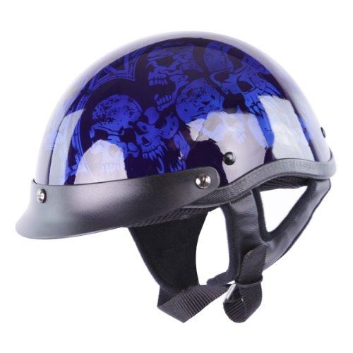 Hci Half Helmet (Half Helmets - HCI-100 Blue Screaming Skulls Half Helmet M)