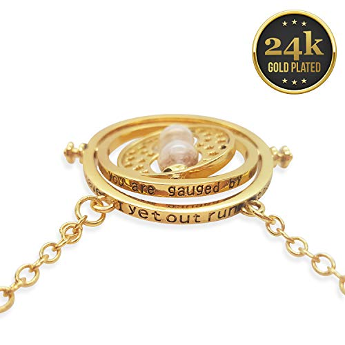 KalematStore 24k Gold Plated Necklace for Time Turner Fans, Gold Glass Hour Sand in a Branded Red Velvet Pouch and Gift Box (Best Time Travel Costumes)