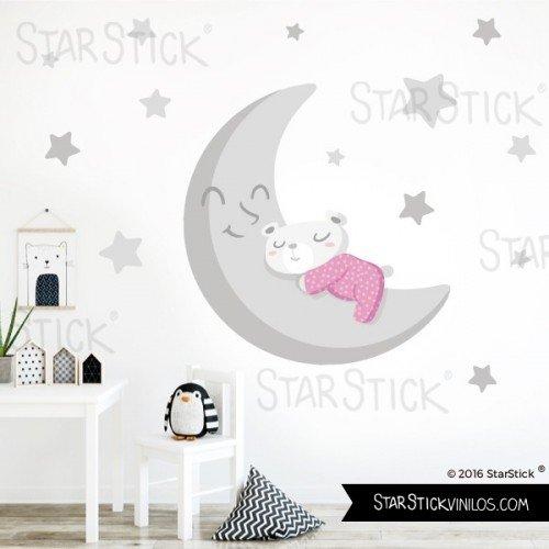 StarStick - Vinilo bebé Osito en la luna gris Rosa - Vinilo infantil - T1 - Pequeño