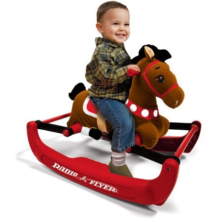 Safe Bouncing Action Soft Rock & Bounce Pony with Sound 45 lbs Capacity By Radio Flyer (Bounce Pony)
