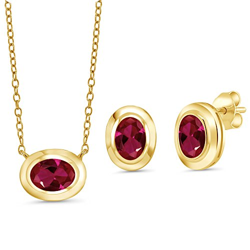 Gem Stone King 2.70 Ct Red Created Ruby 18K Yellow Gold Plated Silver Pendant Earrings Set