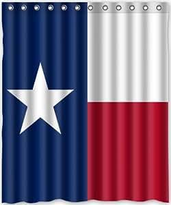 60 W X 72 H Texas State Flag Theme Print 100 Polyester Bathroom Shower Curtain