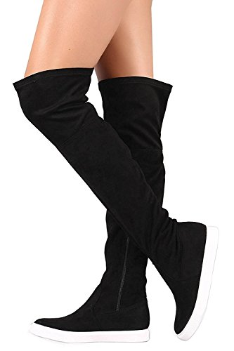 Glaze Stylish Women's Trendy Lounge Suede High Over-The-Knee Chic Sneaker Boots Zip Closure, Black 8.5