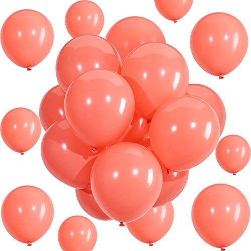 Hestya Coral Balloons 100 Pack 10 Inch Party Balloons Coral Latex Balloons for Weddings, Birthday Party, Bridal Shower, Party Decoration (10 Inch, -