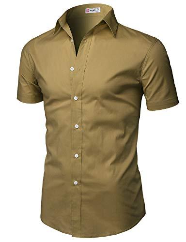 H2H Men's Casual Cotton Linen Short Sleeve Shirts Lightbrown US 2XL/Asia 3XL (KMTSTS0134)