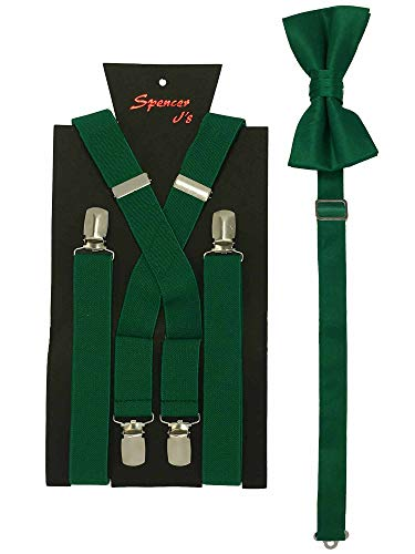 Spencer J's Men's X Back Suspenders & Bowtie Set Variety of Colors (Kelly Green/Emerald)