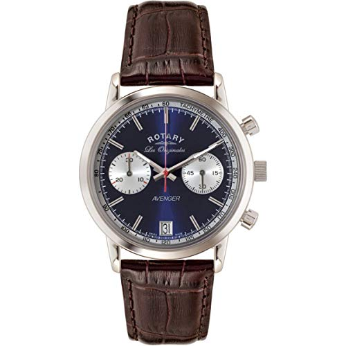 Roterande kvartsklocka för män med blå urtavla kronograf display och brunt läderband GS90130/05