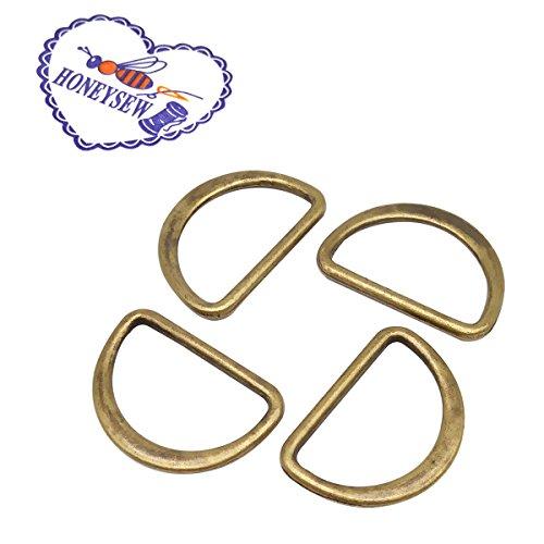 (HONEYSEW 100pcs/lot 20mm Metal Flat Alloy D Dee Ring adjustable buckles Nickle/Black Nickle/Antique Brass/Gold for Bag Webbing Strap FDR-20mm (Antique)