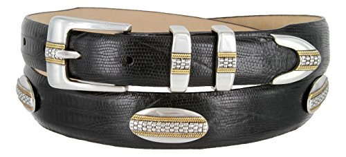 St. Andrews Gold - Italian Lizard Embossed Golf Belt with Conchos (Lizard Black, 38)