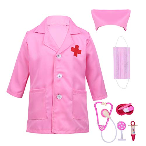 dPois Unisex Boys Girls' Little Doctors Long Sleeves Coat with Cap Mask Play Tools Set Halloween Cosplay Fancy Costume Pink 12-14 for $<!--$18.95-->