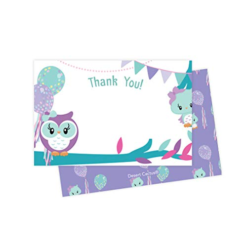 Owl Thank You Cards (25 Count) With Envelopes and Seal Stickers Bulk Birthday Party Bridal Blank Graduation Kids Children Boy Girl Baby Shower (25ct) -