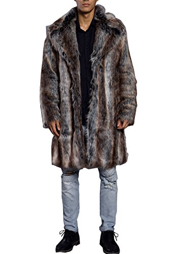 Lafee Bridal Men's Luxury Faux Fur Coat Jacket Winter Warm Long Coats Overwear Outwear Brown XXXL]()