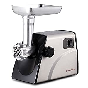 Sunmile SM-G33 ETL Electric Stainless Steel Meat Grinder Mincer 1HP 800W Max - Stainless Steel Blade and 3 Grinding Plates, 3 Types Sausage Makers