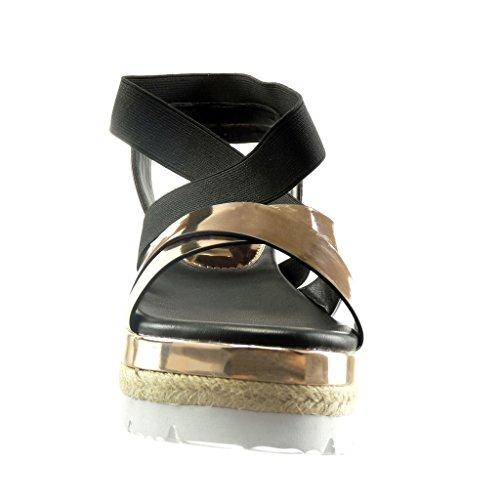 Angkorly - Chaussure Mode Sandale semelle basket plateforme femme brillant corde Talon compensé plateforme 7.5 CM - Champagne