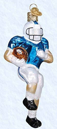 Old World Christmas Football Player Handcrafted Hanging Tree Ornament ()