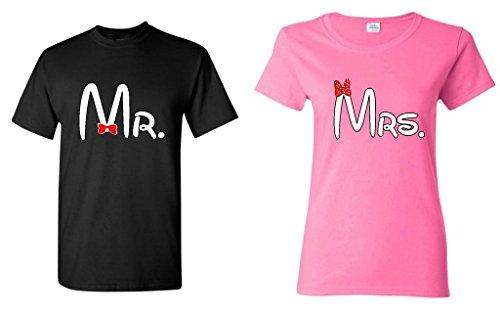 Par Matching Cartoon fuente Sr.–La Señora T-Shirt Men Small - Women 3xl,black - Pink