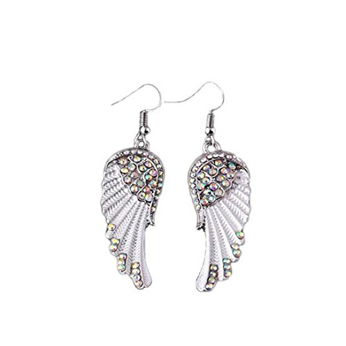 DDLBiz A Pair Of Angel Wings Diamond Earrings Earrings Dangle Beaded Earrings (White)