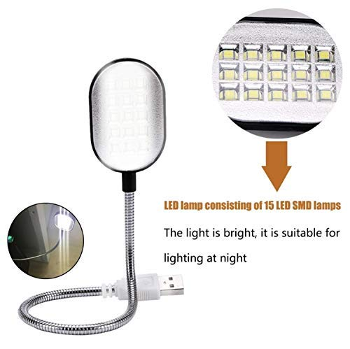 Flexible Bright Cute Mini 15 LED USB Book Light Computer Lamp Reading Lamp for Laptop Notebook Computer PC for Students Worker by GETHT (Image #2)