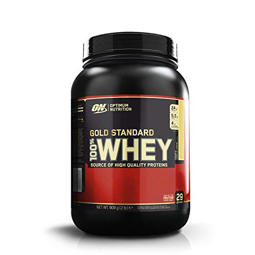 Optimum Nutrition Gold Standard Whey Protein Powder Muscle Building Supplements with Glutamine and Amino Acids, French Vanilla Crème, 29 Servings, 900 g