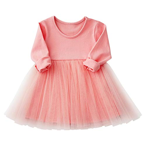 Yinqusiting Baby Girls Black Dress Tutu Long Sleeves Ruffle Tulle 9-48m (9-12m, Pink) ()