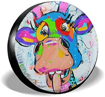INYANIDI Tire Covers Universal Sunscreen Durable Waterproof Colorful Animal Happy Ranch Wheel Cover for Jeep, Trailer, RV, SUV, Truck 23