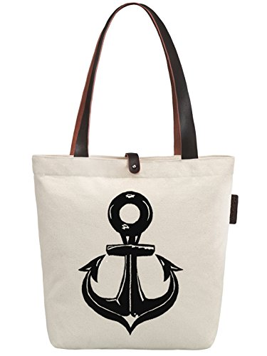 So'each Women's Ship's Anchor Graphic Canvas Handbag Tote Shoulder Bag