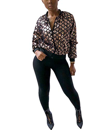 Womens Sequin Bomber Sequence Jackets - Glitter Blazer Top Sparkly Long Sleeve Zip Up -