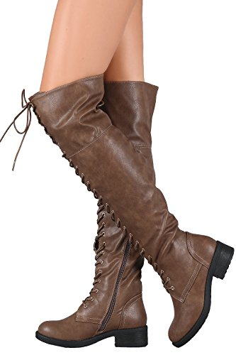 Combat Lace Tall High Over Women's Knee Boots Boots Riding WestCoast Taupe The Thigh Boots xYPqv4X
