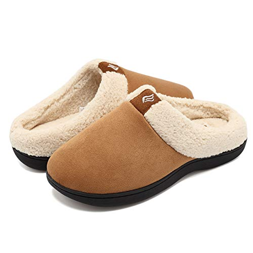 Suede Microfiber Clog (EQUICK Women's Memory Foam Slippers Suede Wool-Like Plush Fleece Lined Slip-on Clog Scuff House Shoes Indoor & Outdoor-U218WMT024-tan-36.37)