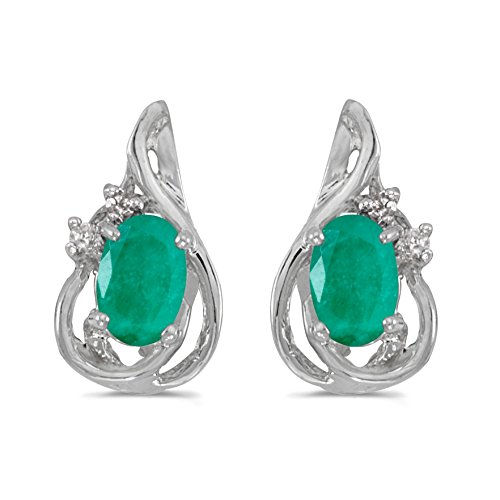 Emerald Earing Stud - FB Jewels Solid 10k White Gold Studs Genuine Green Birthstone Oval Emerald And Diamond Teardrop Earrings (0.62 Cttw.)