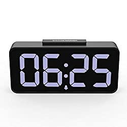 MoKo LED Alarm Clock with 8.9 Large Display, USB Ports, Snooze, Dimmer and Alarm Voice Control, Battery Backup and 12/24 Hours Display, Black