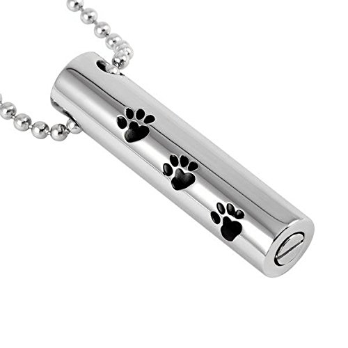 Pet Memorial Jewelry Urn Pendant – Choose from 6 Styles – Stores Ashes - Keepsake Paw Print Series Cremation Jewelry for Pet Memorial Ashes (Tube)