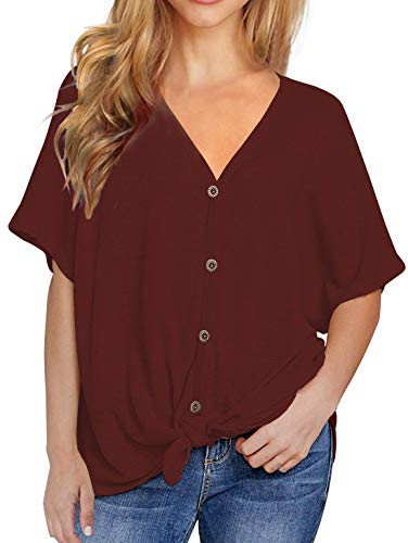 Viishow Womens Loose Henley Blouse Bat Wing Short Sleeve Button Down T Shirts Tie Front Knot Tops Red XS
