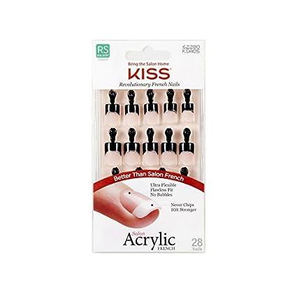 Kiss Salon Acrylic French 28 Nails Real Short Length KSA05 Simple Life Black Tip Ivy Enterprises Inc.