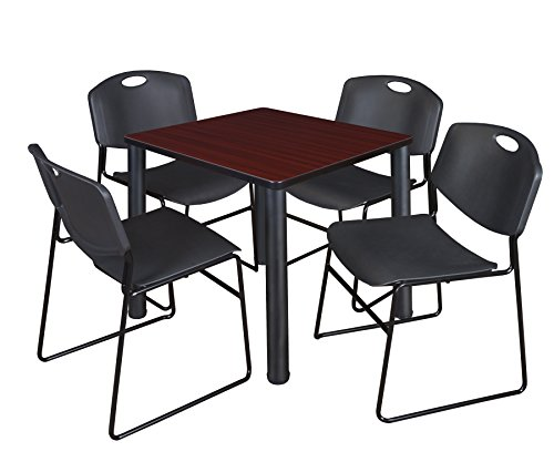 """Kee 30"""" Square Breakroom Table- Mahogany/ Black & 4 Zeng Stack Chairs- Black"""