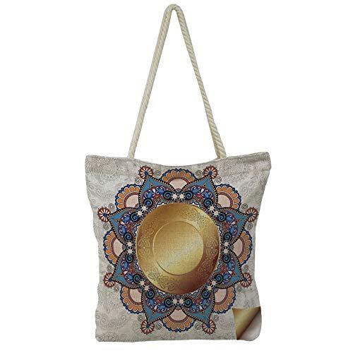 Brown Needlepoint Paisley (iPrint Hand Cotton and Linen Bag Shoulder Bag,Gold Mandala,Flourish Pattern with Paisley Botanical Garden Theme Curvy Persian Fashion Decorative,Yellow Brown,3D Print Design.)