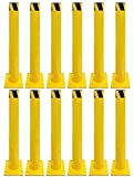 Electriduct 3 Feet Steel Pipe Safety Bollard Post Yellow/Black Stripe - Parking Lot Traffic Barrier (36'' Height - 4.5'' OD) - Pack of 12