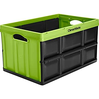 CleverMade CleverCrates 62 Liter Collapsible Storage Bin/Container: Solid  Wall Utility Basket/Tote, Kiwi Green