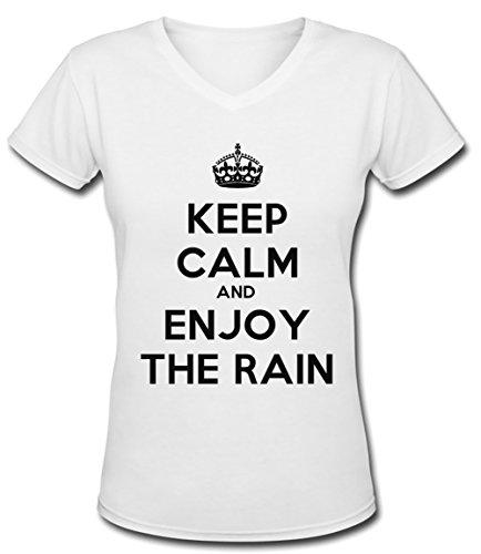 Keep Calm And Enjoy The Rain Blanc Coton Femme V-Col T-shirt Manches Courtes White Women's V-neck T-shirt