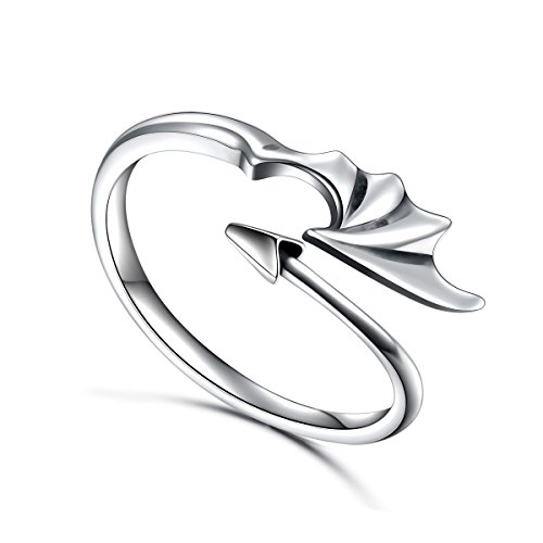 Ladytree Sterling Silver Dragon Ring Devil Tail Arrows Adjustable Open Ring,Size7