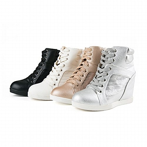 Los Zapatos de Mujer Blancos Casuales Encienden Alto Alto Cuello para Ayudar a Aumentar Los Zapatos de Las Mujeres , oro , EUR35