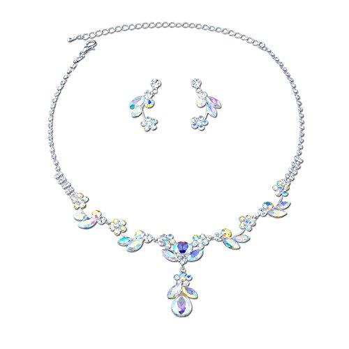 - Topwholesalejewel Fashion Jewelry Set Silver Plated Aurora Borealis Tear Drop Necklace Dangle Earrings Set