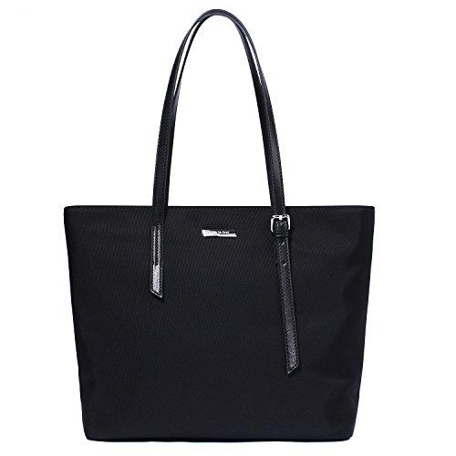 Let It Be Basic Spacious Work Laptop Tote Travel Totes Shoulder Bag - Oxford Nylon | Medium Black ()
