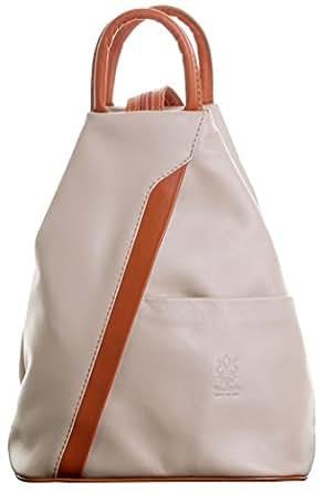 (Medium, Beige & Tan) - Primo Sacchi Italian Soft Napa Leather Top Handle Shoulder Bag Rucksack Backpack. Includes Branded Protective Storage Bag